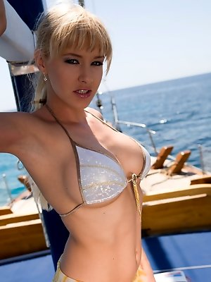 Blonde model with big boobs...